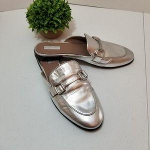 Topshop silver metallic mules/slides size 40